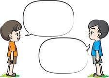 Wektorowa rysunków dzieciaków rozmowa z mowa bąblem royalty ilustracja
