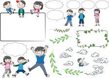 Wektorowa rysunków dzieciaków rozmowa z mowa bąblem ilustracja wektor