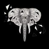 Wektorowa słoń łamigłówka Stylizowanego słonia niski poli- projekt Zwierzęca ilustracja dla use jako druk na koszulce, tatuaż i Obraz Royalty Free