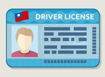 Wektorowa samochodowa napędowa koncesja, karta identyfikacyjna z fotografią, pracownika id Fotografia Royalty Free