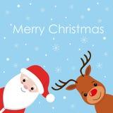 Wektorowa Santa kreskówka z śmiesznym Santa Claus i czerwień ostrożnie wprowadzać renifera Boże Narodzenia ilustracja wektor