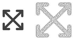 Wektorowa sieci siatka Powiększa strzały i Płaską ikonę ilustracji