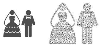 Wektorowa sieci siatki ślubu para i mieszkanie ikona ilustracji