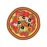 Wektorowa smakowita pizza z baleronem, pieprzem, kiełbasami, pomidorem i oliwką, pojedynczy białe tło Obraz Royalty Free