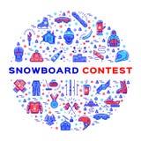 Wektorowa Snowboard rywalizacja, jazda na snowboardzie konkursu zimy Krańcowi sporty wykłada ikony ilustracja wektor