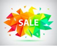 Wektorowa sprzedaż faceted 3d sztandar, plakat ilustracja kolorowa Zdjęcie Royalty Free