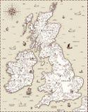 Wektorowa stara mapa, Wielki Brytania Zdjęcie Stock