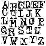 Wektorowa stara maszyna do pisania chrzcielnica Rocznika grunge listy Starzy zniszczeni drukowani listy Obraz Royalty Free