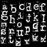 Wektorowa stara maszyna do pisania chrzcielnica Rocznika grunge listy Starzy zniszczeni drukowani listy Zdjęcia Stock