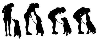 Wektorowa sylwetka kobieta z psem royalty ilustracja