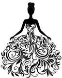 Wektorowa sylwetka młoda kobieta w sukni