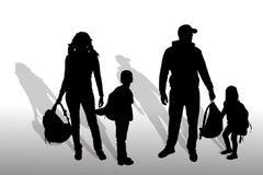 Wektorowa sylwetka rodzina ilustracji