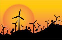 Wektorowa sylwetki wiatrowego koła elektryczna energia z zmierzchu tłem royalty ilustracja