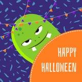 Wektorowa szczęśliwa Halloween kreskówki potwora śliczna ilustracja royalty ilustracja