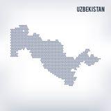 Wektorowa sześciokąt mapa Uzbekistan na szarym tle Obrazy Royalty Free