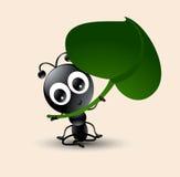 Wektorowa sztuka śliczna mrówki kreskówka z zielonym liściem royalty ilustracja