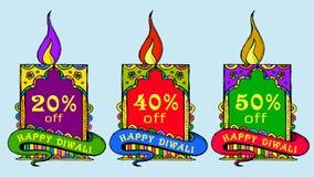 Wektorowa sztuka kolorowa Diwali metka lub sieć sztandar ilustracji