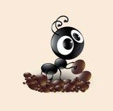 Wektorowa sztuka śliczna czarna mrówki kreskówka robi domowi royalty ilustracja