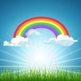 Wektorowa tęcza chmurnieje niebieskie niebo i trawy ilustracji