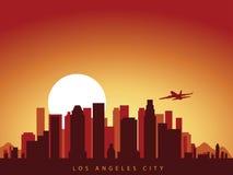 Wektorowa tło projekta miasta linia horyzontu los Angeles w California America z samolotowym lataniem nad miasto i słońce wzrasta ilustracja wektor