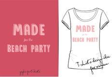Wektorowa t koszula śliczny różowy kreskówki literowanie robić dla plażowego przyjęcia rysującego z pastylką, ręka rysująca imita ilustracja wektor