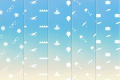 Wektorowa tematowa bezszwowa tekstury paczka Prosty wakacje letni klepnięcie Ilustracja Wektor