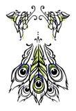 Tatuażu lub sztuki pawia stylowi skrzydła ogon na bielu i. Wektor ilustracji