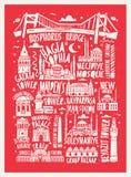 Wektorowa turystyczna ręka rysujący Istanbul miasta plakat Obraz Royalty Free