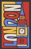 Wektorowa turystyczna ręka rysujący London miasta plakat Obrazy Stock