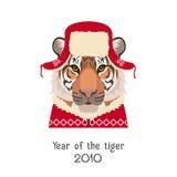Wektorowa tygrys głowa w nowym roku, boże narodzenia czerwony kapelusz, pulower Obraz Stock