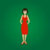 Wektorowa uśmiechnięta trwanie młoda kobieta w czerwieni sukni Ilustracji