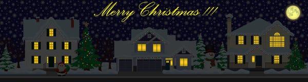 Wektorowa ulica jest święta bożego daru Santa Claus nocy ilustracyjnego wektora royalty ilustracja