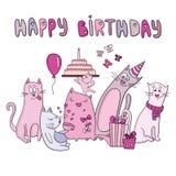 Wektorowa urodzinowa karta z śmiesznymi kotami Obraz Royalty Free