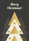 Wektorowa Wesoło kartka bożonarodzeniowa z geometrycznymi jedlinowymi drzewami W czerni, bielu i złota kolory Royalty Ilustracja
