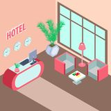 Wektorowa wewnętrzna sala w hotelu w isometry ilustracja wektor