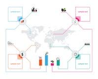 Wektorowa światowa mapa z ikony infographics i miejsce dla teksta Zdjęcie Stock