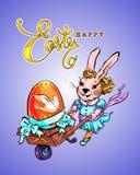 Wektorowa Wielkanocna karta z modnym królikiem ilustracja wektor