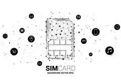 Wektorowa wielobok kropka łączy linia z czynnościową ikoną kształtującą sim karty ikonę ilustracji
