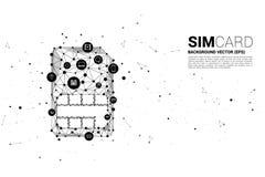 Wektorowa wielobok kropka łączy linia z czynnościową ikoną kształtującą sim karty ikonę ilustracja wektor