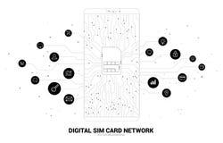 Wektorowa wielobok kropka łączy linia z czynnościową ikoną kształtującą sim karty ikonę w telefonu komórkowego obwodu deski stylu royalty ilustracja