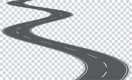 Wektorowa wijąca droga na przejrzystym tle Wektor e royalty ilustracja