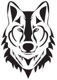 Wektorowa wilk głowy sylwetka Odizolowywająca Na Białym tle ilustracji