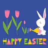 Wektorowa wiosny Easter karta z kwiatami, królikiem i kurczakiem, royalty ilustracja