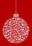 Wektorowa wisząca abstrakcjonistyczna Bożenarodzeniowa piłka składa się płatek śniegu ikony na czerwonym tle royalty ilustracja