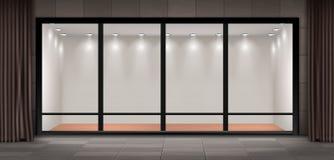 Wektorowa witryna sklepowa, opróżnia iluminującą sala wystawową ilustracji
