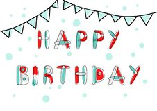 Wektorowa wszystkiego najlepszego z okazji urodzin karta, sztandar i Zdjęcie Royalty Free