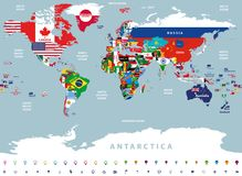 Wektorowa wysoka szczegółowa ilustracja mapa świat spajający z kraj flaga Zdjęcie Royalty Free