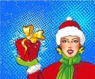 Wektorowa wystrzał sztuki dziewczyna w Santa mienia prezenta kostiumowym pudełku ilustracja wektor