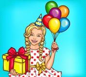Wektorowa wystrzał sztuki uśmiechnięta mała dziewczynka trzyma prezent i hel balony Obraz Royalty Free