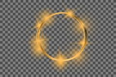 Wektorowa złota rama z światło skutkami Olśniewający prostokąta sztandar royalty ilustracja